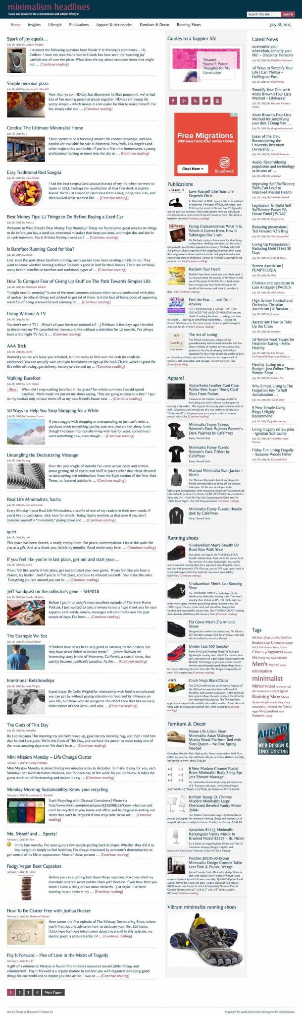Minimalism news and products for a simpler lifestyle for Minimalist living websites