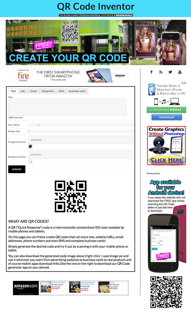 Instantly create your own free visual QR Code!