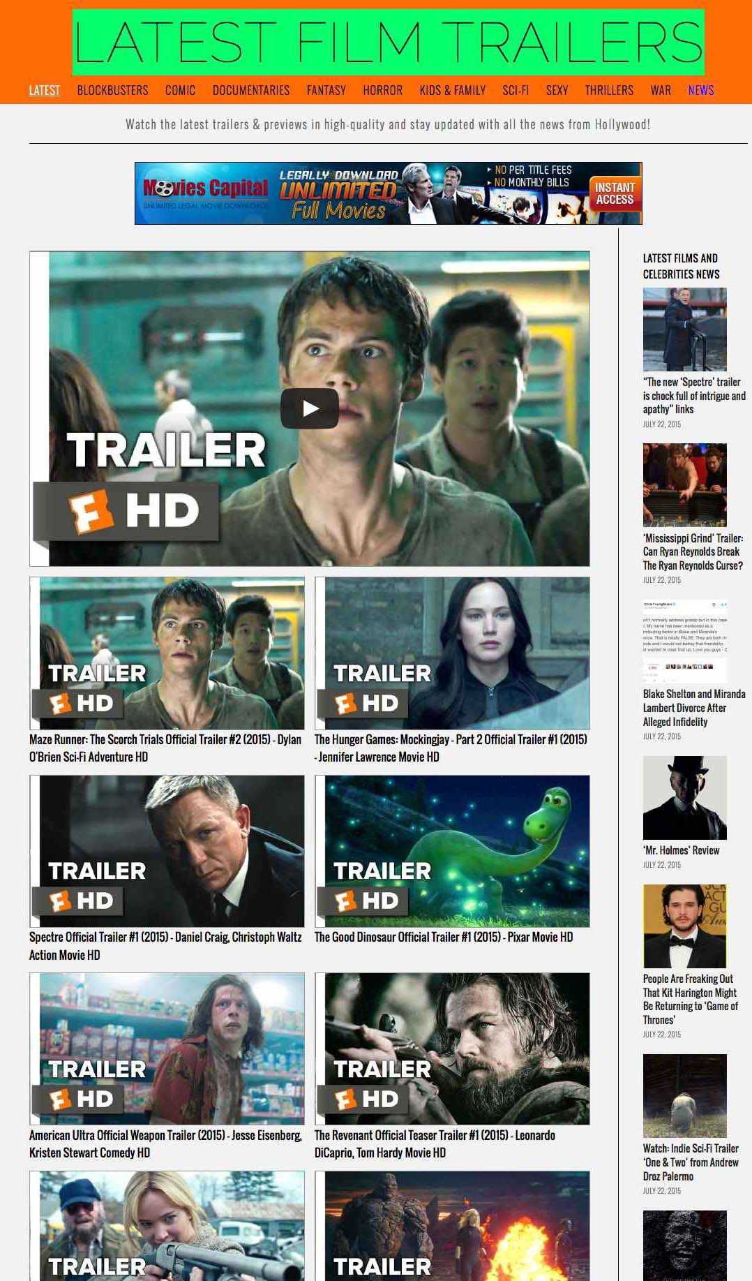 Movie trailers automatic videos site (+cinema news)