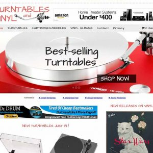 Turntables and vinyl albums store