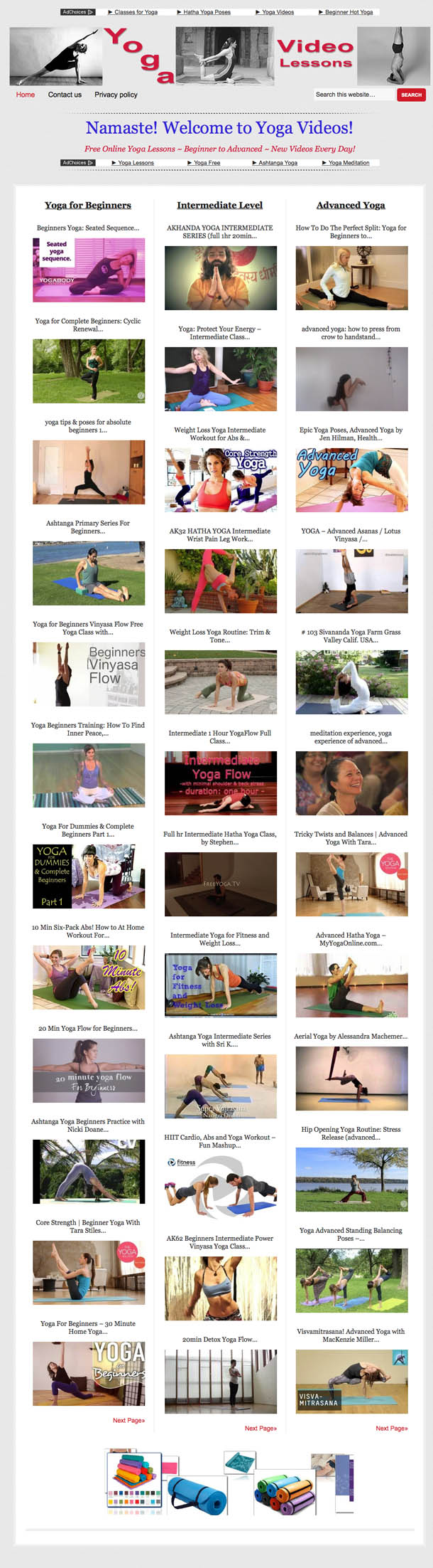 Beginner to Advanced Free Online Yoga Lessons ~ New Videos Every Day!