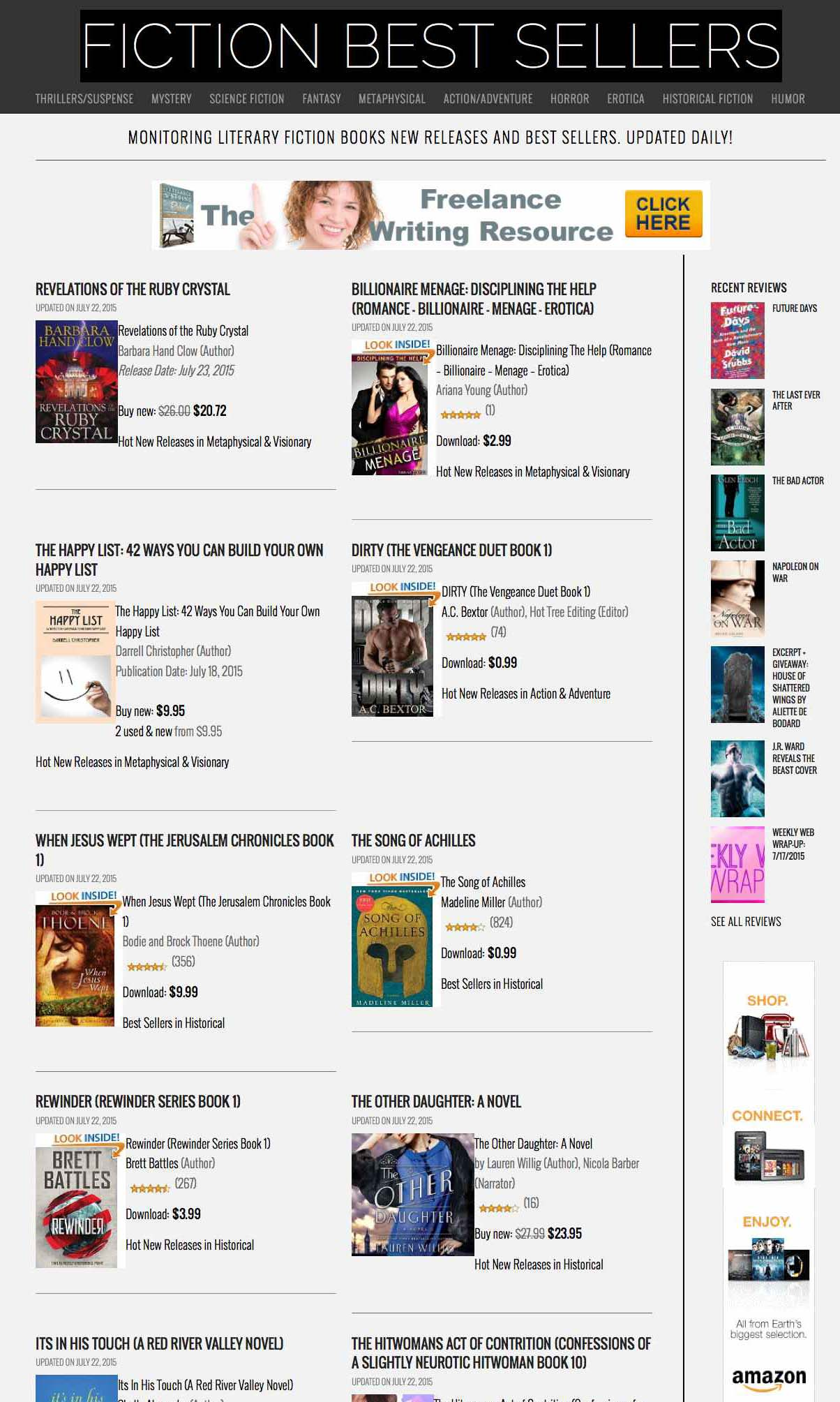 Amazon's Kindle best selling & new books in fiction