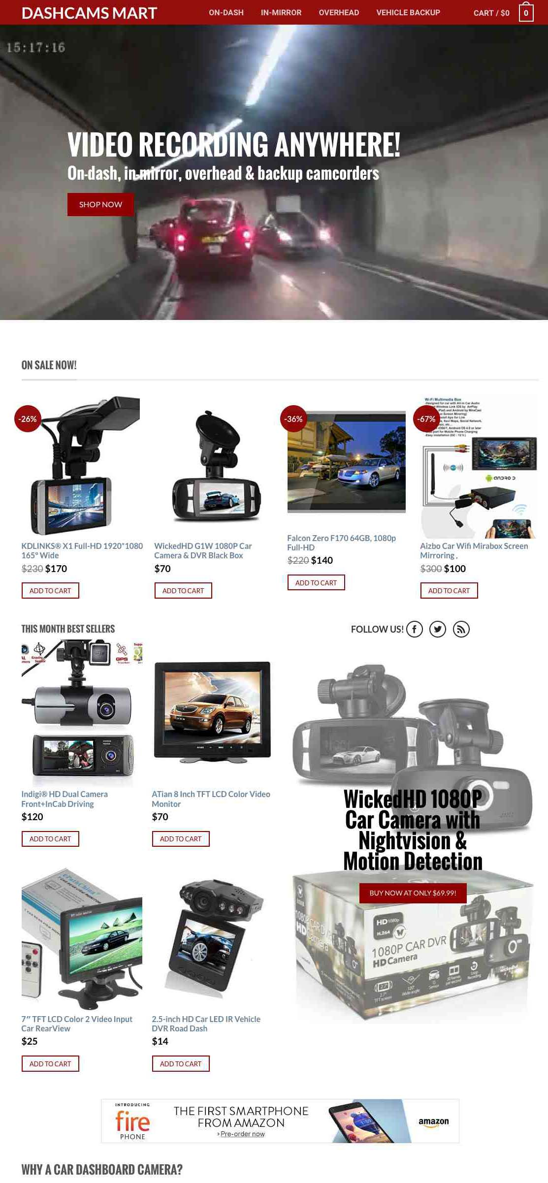DASH CAMS store with 200+ products inventory - high growth niche