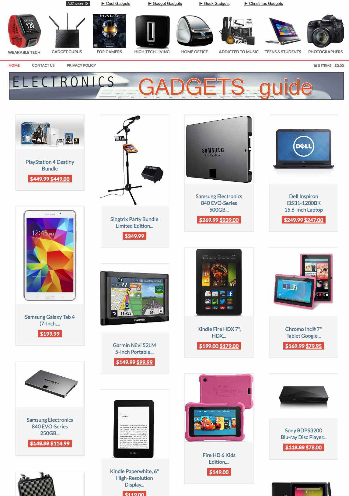 Electronic gifts store